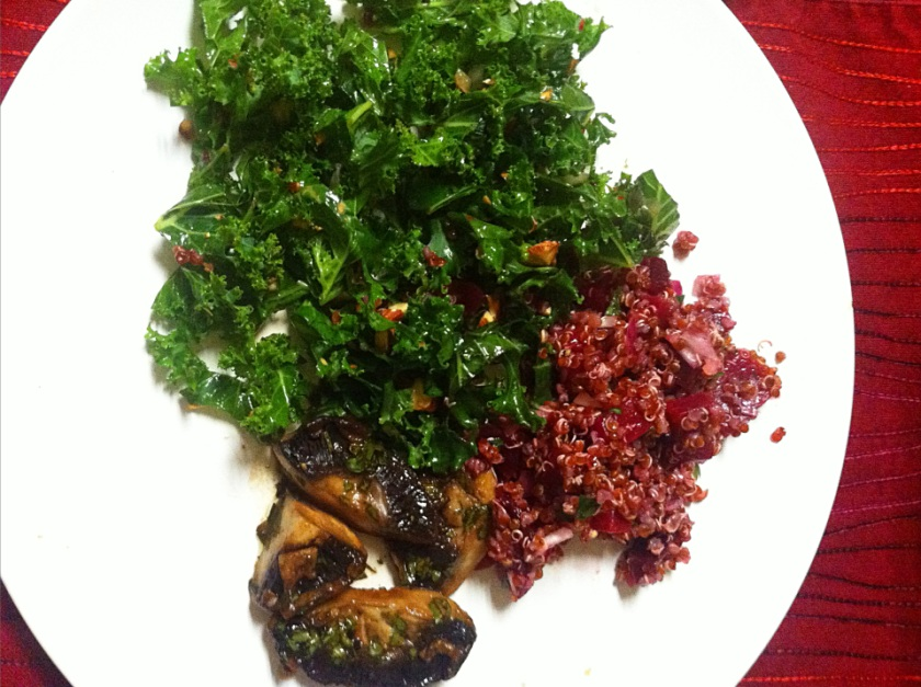 Kale -beet-portabello salad
