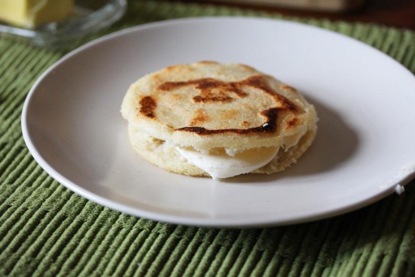 Arepas stuffed with fresh mozarella
